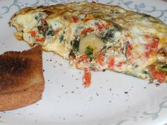 Fresh Tomato, Spinach, Onion and Jack Omelette - Delish!