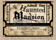 halloween invitation haunted mansion ticket by LisaMariesPaperie