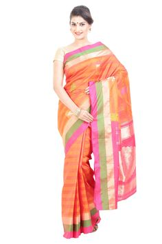 Are you looking for the perfect orange silk saree with green? Your search for that perfect orange silk saree with green for that perfect festival look ends at silkshari.com. The Online store for authentic designer orange silk saree with green at wholesale prices.