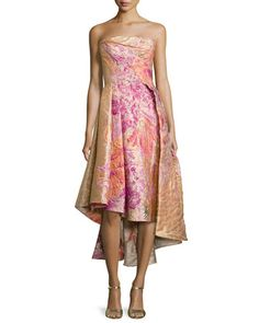 Strapless+High-Low+Embossed+Gown,+Floral+by+Rubin+Singer+at+Neiman+Marcus.