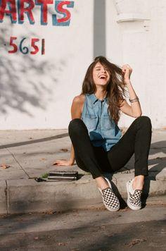 Denim shirt + black pants + sneakers #summerstyle #casual #love