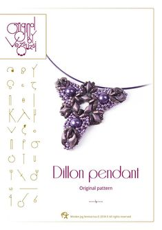 Beading tutorial / pattern Dillon pendant with Diamond beads. Beading instruction in PDF – for personal use only