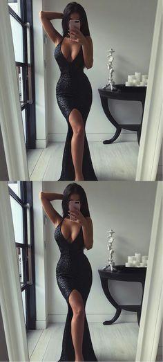 2017 Evening Dresses Prom Dresses Cocktail V-Neck Sequin Sexy dress Mermaid dress Black Prom Dresses Sequins Lace Prom Dresses#promdress#graduationdress#eveningdress#dress#dresses#gowns#partydress