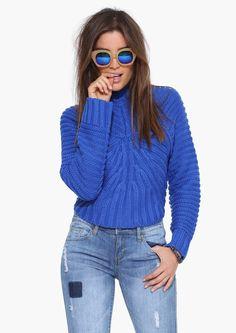 Joa Bulk Up Turtleneck Sweater in Blue   Necessary Clothing