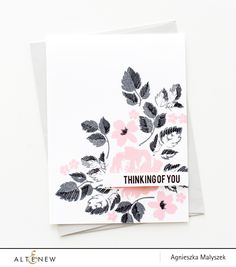 Pink, Grey & Black flowers card using @altenew Vintage Flowers Clear Stamp Set #rubberstamping