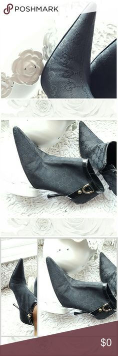 Coming Soon Gucci GG Bootie Gucci ankle bootie...minor signs of wear no stains or fabric stains beautiful ankle  oot. Gucci runs 1/2 larger than  normal 8 fits like a 8 1/2 M (comparable to Nine West 8 1/2) Gucci Shoes Ankle Boots & Booties
