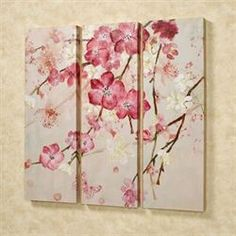 Overhanging limbs with Majestic Blooms spread across this beautiful triptych wall art set, forming one continuous image. These floral giclee canvases have. Three Canvas Painting, Multiple Canvas Paintings, 3 Canvas Art, Triptych Wall Art, Panel Art, Beautiful Paintings, Painting Inspiration, Watercolor Paintings, Floral Paintings