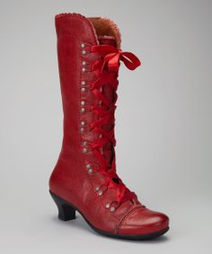 Red Lace-Up Leather Boot