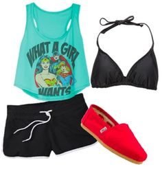 The perfect outfit to wear to the water park. Race ya to the wave pool!
