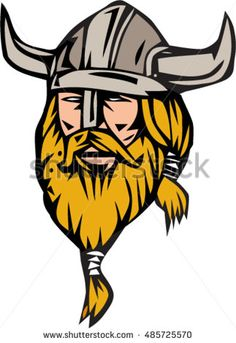 Illustration of a norseman viking warrior raider barbarian head with beard wearing horned helmet viewed from front set on isolated white background done in retro style. #viking #cartoon #illustration