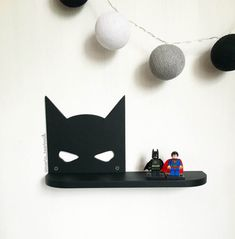 Shelf Batman   DIMENSIONS: Height-160mm (6.3 inches) width- 300 mm (11.8 inches) depth: 7 cm (2.8 inches)  If you need a different size or color, i can do it))  Ideal for children or fans of comic book characters. You can hang it on the wall for example. It also makes a beautiful gift.  # Shelf is sold without a LEGO #