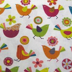 """Birds on Cream""  Cotton Linen Mix Fabric by Fat Quarter"