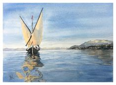 "Water reflection, nautical painting, watercolor sailboat ""La Savoie"" old sailing barge that was used on Lake Geneva Nautical Painting, Sailboat Painting, Franco Suisse, Arches Paper, How To Make Paint, Water Reflections, Lake Geneva, Photos, Pictures"