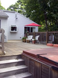 Deck stairs go by side of hot tub Hot Tub Deck, Deck Stairs, Getting Out, Backyard, Outdoors, Outdoor Decor, Home Decor, Home, Patio
