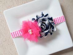 Hot pink and navy blue baby headband hot pink by hartsandflowers, $5.00