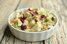 Broccoli Apple Salad; sub out dressing and make your own Poppy seed dressing- apple cider vinegar, honey, poppy seeds, olive oil, salt and pepper
