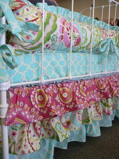 This fabric combination is PERFECT. Kumari Garden by Dena Designs fabric - Little Charlie May on etsy Girl Nursery, Girl Room, Amy Butler Fabric, Diy Crib, Cool Kids Rooms, Girl Cribs, Bohemian Bedroom Decor, Teenage Room, Crib Skirts
