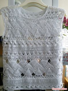 Items similar to Crochet sleeveless blouse on Etsy Crochet Blouse, Crochet Shawl, Crochet Lace, Crochet Tops, Crochet Scarf Tutorial, Crotchet Stitches, Knitting Patterns, Crochet Patterns, Crochet Ideas