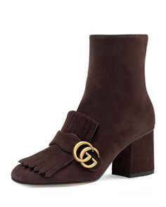 Marmont Suede 75mm Ankle Boot, Brown by Gucci at Neiman Marcus.