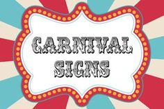 image regarding Free Printable Carnival Signs identify Free of charge Carnival Signs or symptoms Printables RoomMomSpot Carnival in just