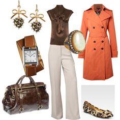 Cocoa, orange, cream, leopard flats, very nice.---I love the purse