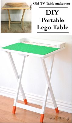 An old TV table makeover never looked so cute! Create a portable DIY lego table to showcase all the amazing Lego creations. An old TV Table makeover never looked cuter! Diy Interior, Interior Design, Legos, Furniture Makeover, Diy Furniture, Furniture Projects, Tv Tray Makeover, Furniture Purchase, Drawing Furniture