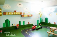 Boys Mario Bros Video Game Themed Birthday Party Room Ideas