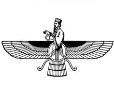 the faravahar (or,  the farohar), is the central icon of Zoroastrianism, a religion that emerged in ancient Persia.The solar disc was a prominent symbol in Egypt and the Middle East long before the birth of Zoroastrianism, and the three layers of feathers on the wings represent the faith's three primary tenants; good thoughts, good words and good deeds. The human figure on top is a representation of Zoroaster himself, and serves as a reminder to lead an upright and moral life.