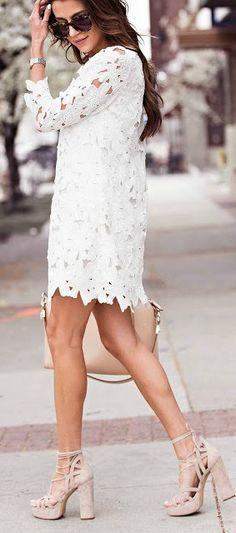 Lace shift dress.