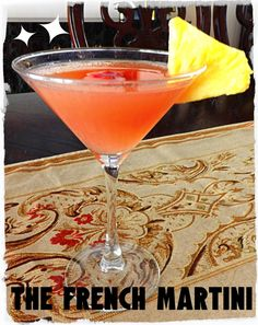 French Martini Recipe -  Made with vodka, raspberry liqueur (Chambord) and pineapple juice - garnished with a pineapple wedge or raspberry | www.sundaysugar.com