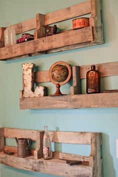 Pallet Furniture Rustic Shelving-I want to build these! : Pallet Furniture Rustic Shelving-I want to build these! – Pallet Furniture Rustic Shelving-I want to build these! Wooden Pallet Projects, Wooden Pallet Furniture, Wooden Pallets, Rustic Furniture, Pallet Ideas, Buy Pallets, Luxury Furniture, Furniture Ideas, 1001 Pallets