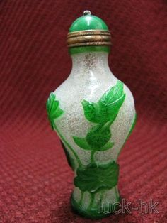 Chinese Peking Glass Carved Snuff Bottle -Bird