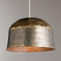 Antique Brass and steel create a trendy combination of mixed metals crudely soldered and hammered together. The outcome is an urban style ceiling light perfect for an open loft space, rustic industrial kitchens and restaurants. Industrial House, Rustic Industrial, Industrial Kitchens, Cool Lighting, Pendant Lighting, Lighting Ideas, Brass Pendant Light, Lighting Shades, Cabin Lighting