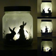 Bunny rabbit silhouette jar light  lit by craftylittlefoxshops