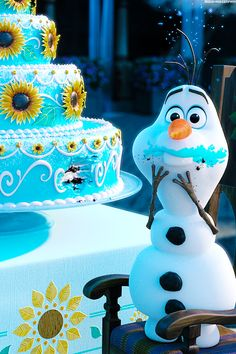Elsa~ don't eat the cake Olaf  Olaf~but it cake  Elsa~it's Anna's cake  Olaf~oh