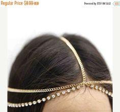 Cabeza de la cadena de diadema moda casco de oro o plata con diamantes de imitación