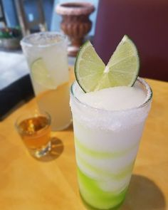 There are 8 days till #cincodemayo and 2 weeks till #graduation! @milpa_denton has the perfect margarita for both. Here is the #MeanGreen top-shelf frozen swirled with Midori and the #940 a Jimador añejo margarita with a whiskey sidecar. Whatever the occasion Milpa has the fiesta! #MilpasCincoCountdown