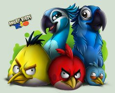 I just love this game If you want to know more: -> [link] - Angry Birds: Rio trailer -> [link] - Rio (movie). All Angry Birds, Rio Movie, Flappy Bird, Kids Stickers, Cute Pokemon, Mobile Wallpaper, Iphone, Bird Feathers, Mobiles