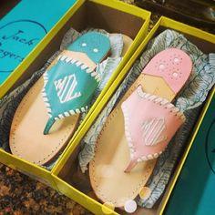 Monogrammed Sandals! Look @Brittany Horton Moody Glidewell , I found them!!! (photo source - link) Shop them at http://www.jackrogersusa.com/monogram-flat