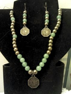 Jade and antiqued bronze ying yang necklace & earring set