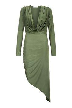 **Lang�rmeliges Kleid mit Wasserfallausschnitt von Rare