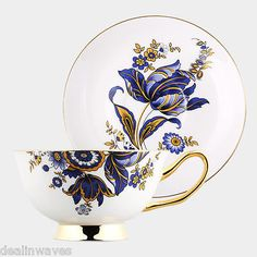 2-Pcs Gold-Rimmed Floral Bone China Coffee Tea Cup Saucer Set 180 ML Blue Flower