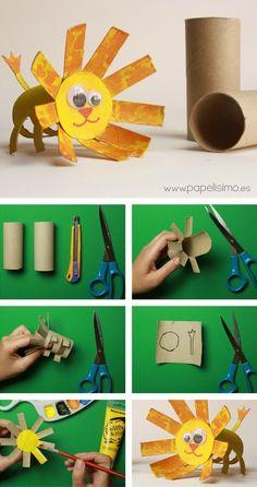 ANIMALES: LEÓN (Manualidades con rollos de papel higiénico) | Aprender Manualidades infantiles | Scoop.it