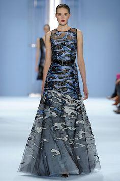 Look 7 - Sanne - Water print silk jacquard appliqué on tulle gown by Carolina Herrera Fall 2015 / Elemental