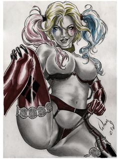 HARLEY QUINN by artist WAGNER REIS- ART PINUP Drawing Original COMIC #PopArt