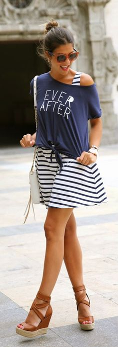 Summer / spring outfit ideas. Striped dress. Blue tee. Wedges. Everyday New Fashion: Best Street Fashion Inspiration And Looks | More outfits like this on the Stylekick app! Download at http://app.stylekick.com