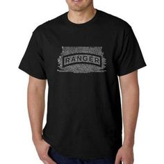 Los Angeles Pop Art Men's T-shirt - The US Ranger Creed, Size: 2XL, Black