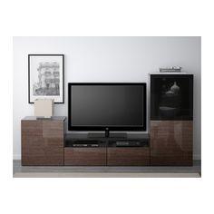 BESTÅ TV storage combination/glass doors - black-brown/Selsviken high gloss/brown smoked glass, drawer runner, push-open - IKEA