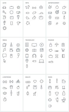 The images above are taken from their brand guidelines (PDF) so there is a lot of Lorem Ipsum — don't let that distract you. The approach is simple and effective, providing a colorful system to deliver content. It might grow repetitive after a while but for now it gives them a fresh toolset. Lastly, there is a bunch of icons, shown below. Overall, a very appropriate internet-y identity that doesn't feel too cute or too friendly or, well, too internet-y.