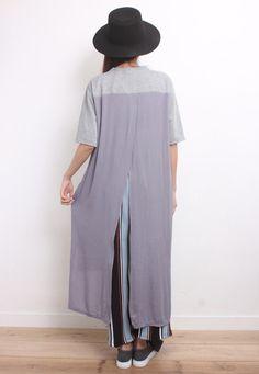 High-Low Chiffon Back Cotton Dress